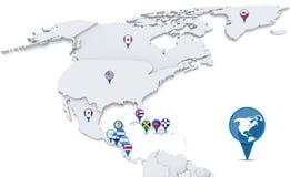 Mappa di Nord America con le bandiere di nazione Fotografia Stock