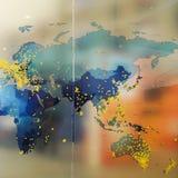 Mappa di parola e una parete di vetro trasparente Immagine Stock