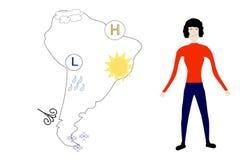 Mappa di previsione del Sudamerica e del Weatherwoman Immagini Stock
