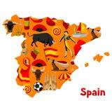 Mappa di progettazione del fondo della Spagna Simboli ed oggetti tradizionali spagnoli royalty illustrazione gratis