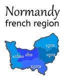 Mappa di regione francese della Normandia Fotografie Stock Libere da Diritti