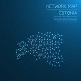 Mappa di rete dell'Estonia Fotografie Stock
