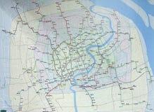Mappa di rete della metropolitana alla stazione quadrata della gente a Shanghai Fotografia Stock