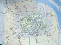 Mappa di rete della metropolitana alla stazione quadrata della gente a Shanghai Fotografia Stock Libera da Diritti