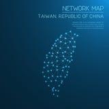 Mappa di rete di Taiwan, Repubblica Cinese illustrazione di stock