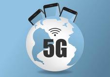 mappa di reti globale di comunicazioni della terra della rete di 4g 5g dei collegamenti globali di logistica della mappa blu del  illustrazione vettoriale