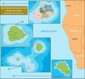 Mappa di Sant'Elena, di ascensione e di Tristan da Cunha illustrazione di stock