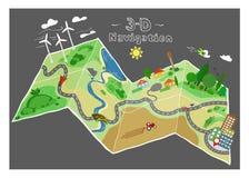 Mappa di scarabocchio di navigazione Immagine Stock