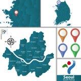 Mappa di Seoul con i distretti fotografia stock libera da diritti