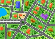 Mappa di sobborgo o di poca città Fotografie Stock