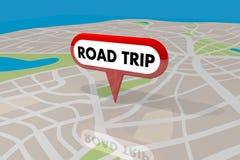 Mappa di strade del pianificatore di viaggio di viaggio stradale Pin Spot Route 3d Illustratio Fotografie Stock Libere da Diritti