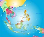 Mappa di Sud-est asiatico Fotografie Stock Libere da Diritti