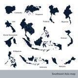 Mappa di Sud-est asiatico Fotografia Stock