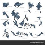 Mappa di Sud-est asiatico illustrazione di stock