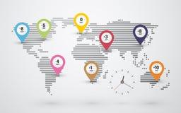 Mappa di tempo del mondo Immagini Stock