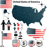 Mappa di U.S.A. Fotografia Stock