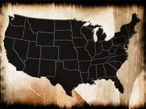 Mappa di U.S.A. Fotografia Stock Libera da Diritti