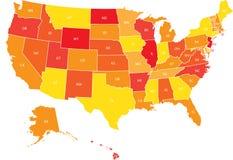 Mappa di U.S.A. con gli stati federali Fotografie Stock