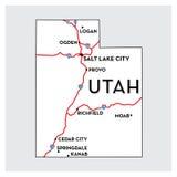 Mappa di U.S.A. dell'UTAH Fotografia Stock Libera da Diritti