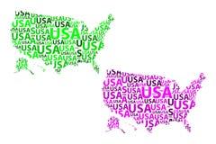Mappa di U.S.A. - illustrazione di vettore Immagini Stock Libere da Diritti