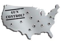 Mappa di U.S.A. in metallo d'acciaio con i fori dai colpi della pistola e dal controllo delle armi del testo Il concetto artistic Fotografie Stock