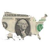 Mappa di U.S.A. su un'una banconota in dollari Immagine Stock