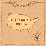 Mappa di U.S.A. di vecchio stile illustrazione di stock