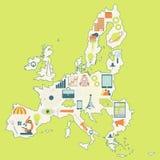 Mappa di Unione Europea con le icone di tecnologia illustrazione di stock