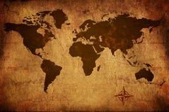 Mappa di vecchio mondo Fotografie Stock