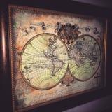 Mappa di vecchio mondo Immagini Stock Libere da Diritti