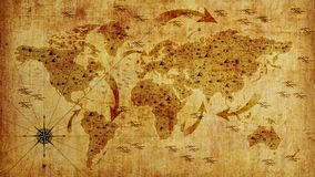 Mappa di vecchio mondo, con le frecce ed il sollievo Carta da parati della foto illustrazione 3D immagini stock libere da diritti