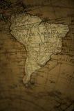Mappa di vecchio mondo - Sudamerica Fotografia Stock Libera da Diritti