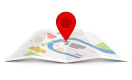 Mappa di vettore con il puntatore del perno immagini stock