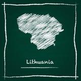 Mappa di vettore del profilo della Lituania disegnata a mano Fotografia Stock