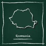 Mappa di vettore del profilo della Romania disegnata a mano con gesso Fotografia Stock