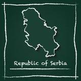 Mappa di vettore del profilo della Serbia disegnata a mano con gesso Fotografie Stock Libere da Diritti