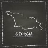 Mappa di vettore del profilo di Georgia disegnata a mano con gesso Fotografia Stock Libera da Diritti