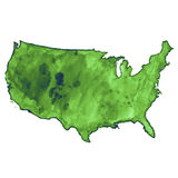 Mappa di vettore dell'acquerello di U.S.A. Immagine Stock