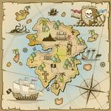 Mappa di vettore dell'isola del tesoro del pirata Fotografia Stock Libera da Diritti