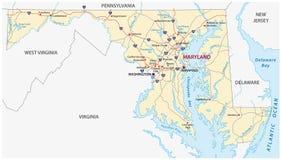 Mappa di vettore della strada di Maryland Fotografia Stock Libera da Diritti