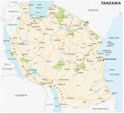 Mappa di vettore della strada della Repubblica Unita di Tanzania Immagini Stock