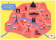 Mappa di vettore di Parigi, Francia Immagine Stock Libera da Diritti
