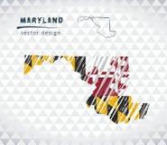 Mappa di vettore di Maryland con l'interno della bandiera isolato su un fondo bianco Illustrazione disegnata a mano del gesso di  Immagine Stock