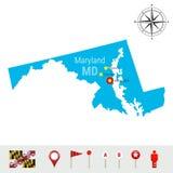 Mappa di vettore di Maryland isolata su fondo bianco Alta siluetta dettagliata dello stato di Maryland Bandiera ufficiale di Mary Immagini Stock