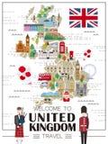 Mappa di viaggio del Regno Unito Fotografia Stock