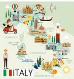 Mappa di viaggio dell'Italia Fotografia Stock Libera da Diritti