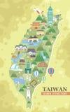 Mappa di viaggio di Taiwan Immagine Stock