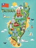 Mappa di viaggio di Taiwan illustrazione di stock