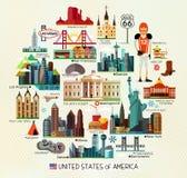 Mappa di viaggio di U.S.A. Fotografia Stock