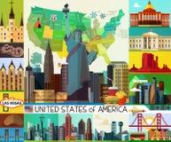 Mappa di viaggio di U.S.A. Fotografia Stock Libera da Diritti
